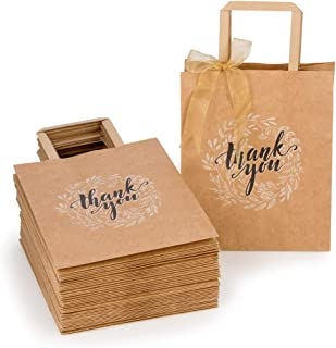 OSpecks 50 Pcs Medium Thank You Gift Bags Bulk with Handle (No Bow or Ribbon), Brown Kraft Paper Bags for Retail Shopping, Wedding, Goodies, Merchandise for Customers or Guests, Size 8x4.75x10 Inches