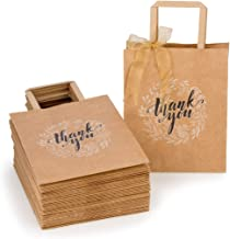 OSpecks Thank You Gift Bags Bulk with Handles (No Bow or Ribbon), Brown Kraft Paper Bags for Retail Shopping, Wedding, Goodies, Merchandise for Customers or Guests, Qty 50 Pcs, Medium 8x4.75x10 Inches