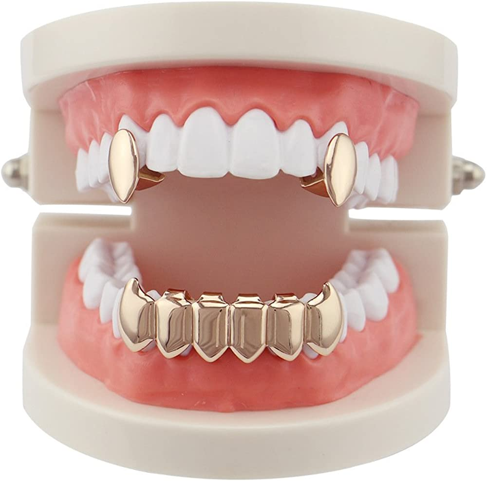 OOCC 18k Gold Plated Vampire Dracula Teeth Grillz 2pc Single Fangs and 6 Bottom Grillz Set