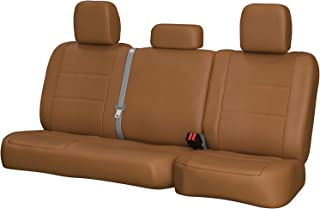 Third Row SEAT: ShearComfort Custom Sof-Touch Imitation Leather Seat Covers for Chevy Tahoe (2000-2006) in Solid Caramel for 3 Passenger Bench w/Adjustable Headrests and Seatbelts in Backrest