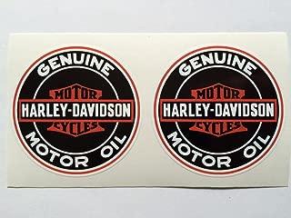 2 Harley Davidson Vintage Style Motor Oil Die Cut Decals