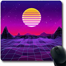 Ahawoso Mousepads for Computers Light Pink Neon 80 Retro Sci Fi Sun Laser Mountains Abstract Purple 90S Wave Triangle Sunset Future Oblong Shape 7.9 x 9.5 Inches Non-Slip Oblong Gaming Mouse Pad