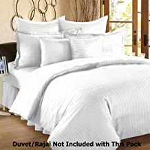 "Winter on Linenwalas 300 TC Double Duvet Covers Stripes Cotton Quilt Cover - White Stripes - Duvet Cover Double - 90""x100"" - Double Bed Cover"