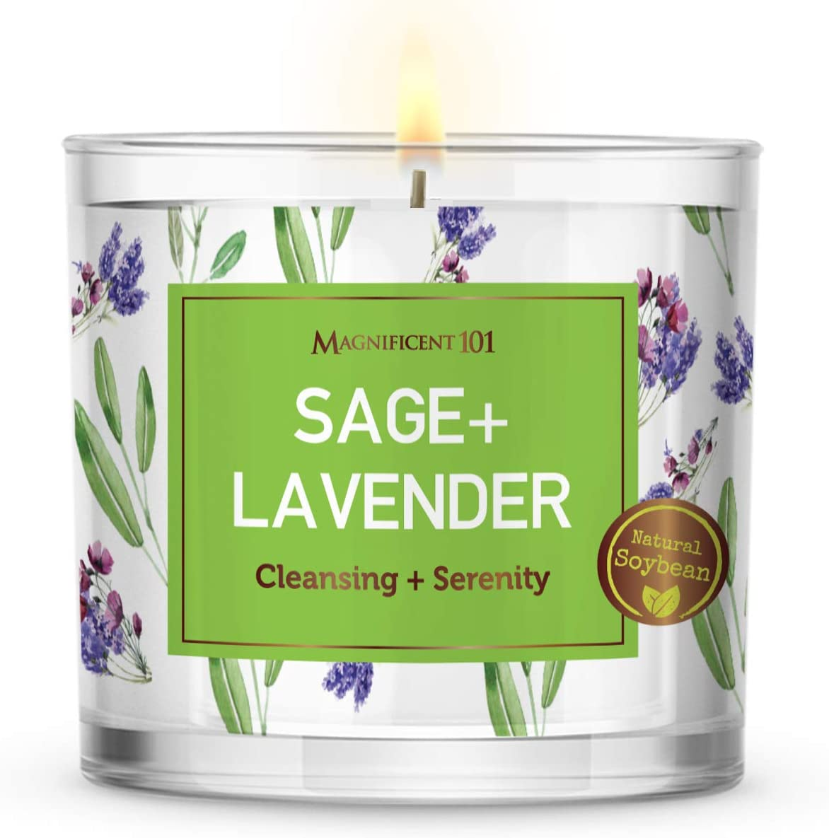 Large Sage + Lavender, Smudge Candle for House Energy Cleansing and Serenity, Banishes Negative Energy I Purification and Chakra Healing - Natural Soy Wax Glass Candle for Aromatherapy (14oz)