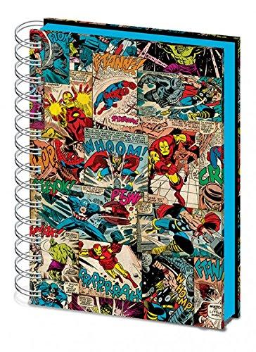 1art1 Marvel Comics - Thor, Iron Man, Spieder-Man, Hulk Panels, Lenticular Bloc De Notas Libreta De Espiral (21 x 15cm)
