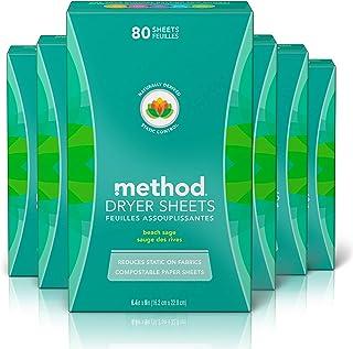 Method Bundle - Method Dryer Sheet Beach Sage, 80 Count (Pack of 6)