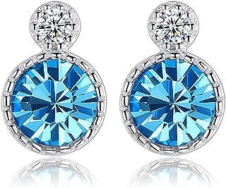 Sterling Silver Stud Earring Hoop Earrings Women Girls Elements Round Shape S925 Silver and Blue Crystal Heart of the Sea ...