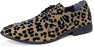Business Casual Leopard Printed Shoes For Men Suede Comfortable Breathable Wedding Party Fashion Loafers Anti-slip Flat Lace Up Pointed Toe` Ameyso (Color : Gold, Size : 39 EU)