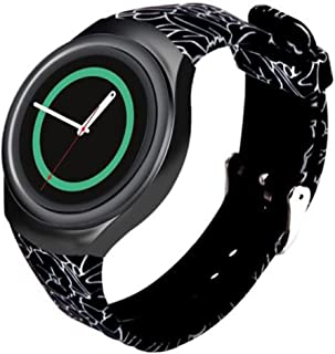 Linkshare Replacement for Samsung Gear S2 Smart Watch SM-R720 Soft Silicone Sport Band Version Black Flower