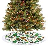 Faldón para árbol de Navidad con patrón de fiesta irlandesa, diseño de corazones, arco iris dorado y trébol para fiesta de Año Nuevo para granja, chimenea, fiesta de vacaciones – 91,4 cm