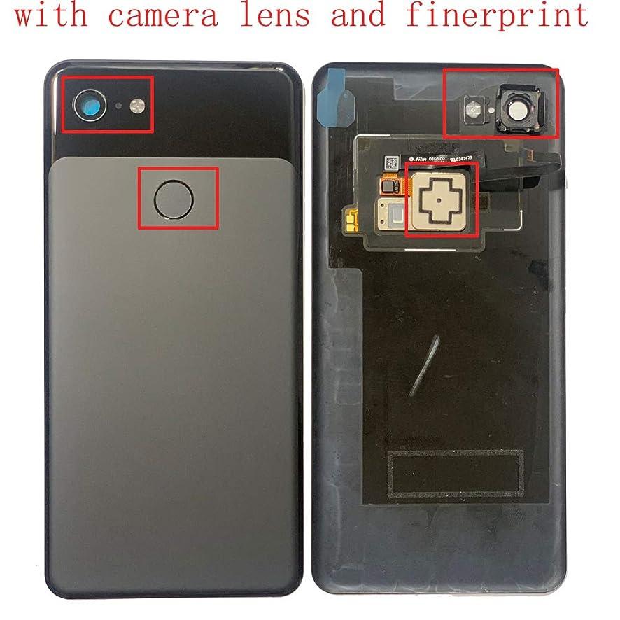 Battery Cover Back Glass Rear Door Housing Case + Camera Lens + Fingerprint for H TC Google Pixel 3 XL 3XL G013D G013C Black