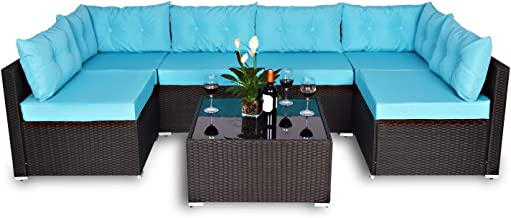 Amolife 7 Pieces Patio PE Rattan Sofa Chair Set Outdoor Sectional Furniture Black Wicker Conversation Set with Cushions an...