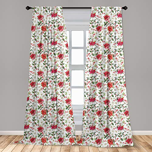 Ambesonne Watercolor Curtains, Fresh Poinsettia Flowers and Rowan Berry Branches Christmas Garden, Window Treatments 2 Panel Set for Living Room Bedroom Decor, 56' x 63', Vermilion Magenta