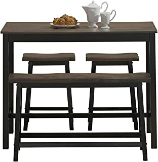 COSTWAY 4-Piece Solid Wood Dining Table Set, Counter Height Dining Furniture with One Bench and Two Saddle Stools, Industrial Style with Foot Pads, Ideal for Home, Kitchen, Living Room (Gray & Brown)