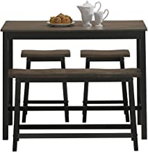 COSTWAY 4-Piece Solid Wood Dining Table Set, Counter Height Dining Furniture with One Bench and Two Saddle Stools, Industr...
