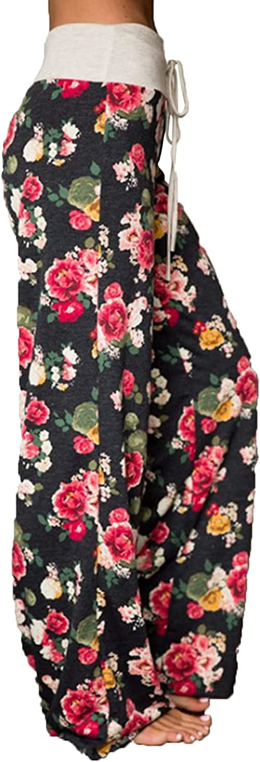 Women's Printed Wide-Leg Pants Comfy Stretch Floral Print Drawstring Lounge Trousers Casual Stretchy Casualpants (Medium,Black 4)