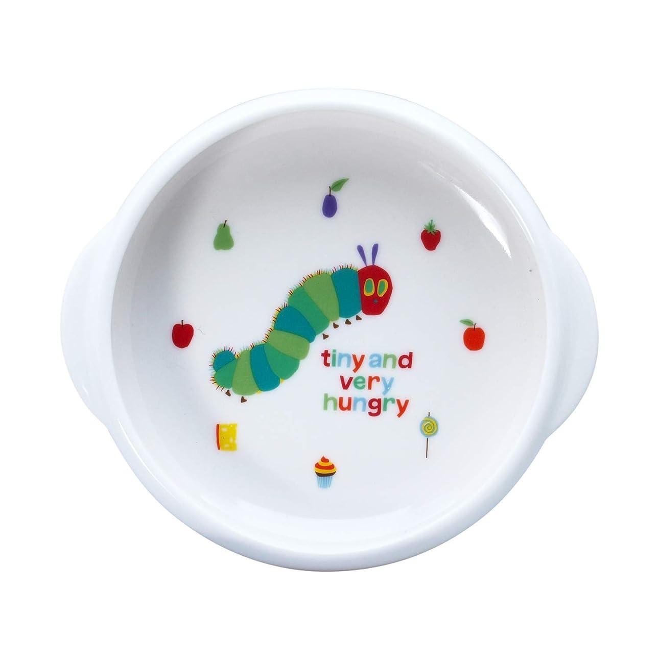 辛い抹消謎金正陶器 子ども用ボウル ホワイト 14.5cm 「 はらぺこあおむし 」 ユニバーサルデザイン ボウル M 810132