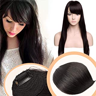 Clip in Side Swept Bangs Human Hair Clip on Sweeping Hair Fringe One-piece for Women #1B Off Black
