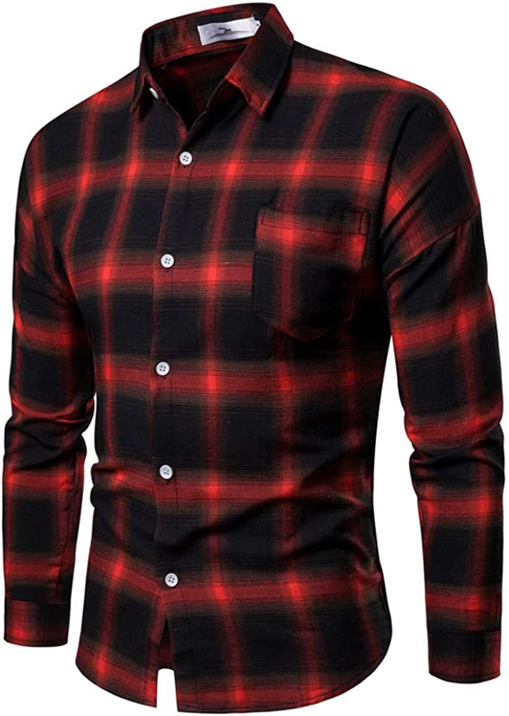 Max 44% OFF Mens Shirts Los Angeles Mall Clearance Men's Stylish Casual Plaid Printe Business