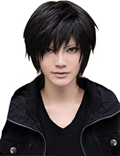 TopWigy Men Wig Black Short Straight Hair Pixie Cut Halloween Cosplay Wig Anime Costume Party Male Wig