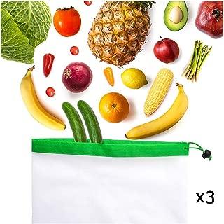 LOUTOC Reusable Mesh Produce Bags - Size Medium (3 Medium)