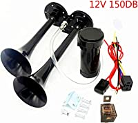 NovelBee 12V Air Operated Horn,Chrome Zinc Dual Trumpet Air Horn with Compressor for Car Truck Boat