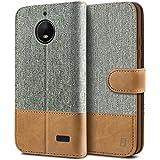 BEZ Hülle für Moto E4 Hülle, Handyhülle Kompatibel für Motorola Moto E4, Handytasche Schutzhülle Tasche Hülle [Stoff & PU Leder] mit Kreditkartenhaltern, Grau