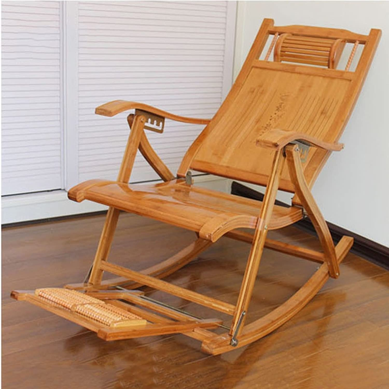 Bodenstuhl Komfortable Schaukelstuhl Mit Fustütze Und Massager, Lounge Recliner Stuhl Für Patio Im Freien Home Lawn Seat Hocker, Bambus