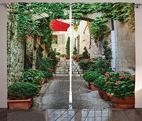 ABAKUHAUS Rustikal Rustikaler Vorhang, Alte Straßenblumen, Wohnzimmer Universalband Gardinen mit Schlaufen und Haken, 280 x 175 cm, Grau Grün