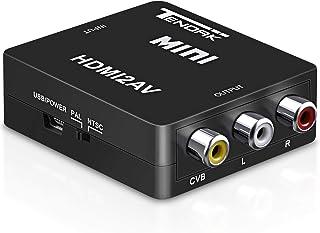 HDMI to RCA Video Converter, Tendak 1080P HDMI to AV 3RCA CVBs Composite Video Audio Converter Adapter Supporting PAL/NTSC...