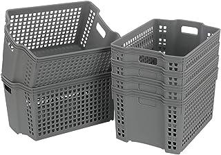Jandson Grey Stacking Baskets, Plastic Basket Bin, 6 Packs