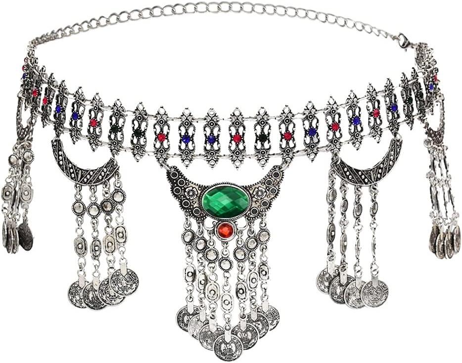 EEKLSJ Color Metal Hippie Boho Flower Turkish Bohemian Shiny Dress Belt Belly Dance Waist Chain Coins Sexy Body Indian Jewelry (Color : Green)