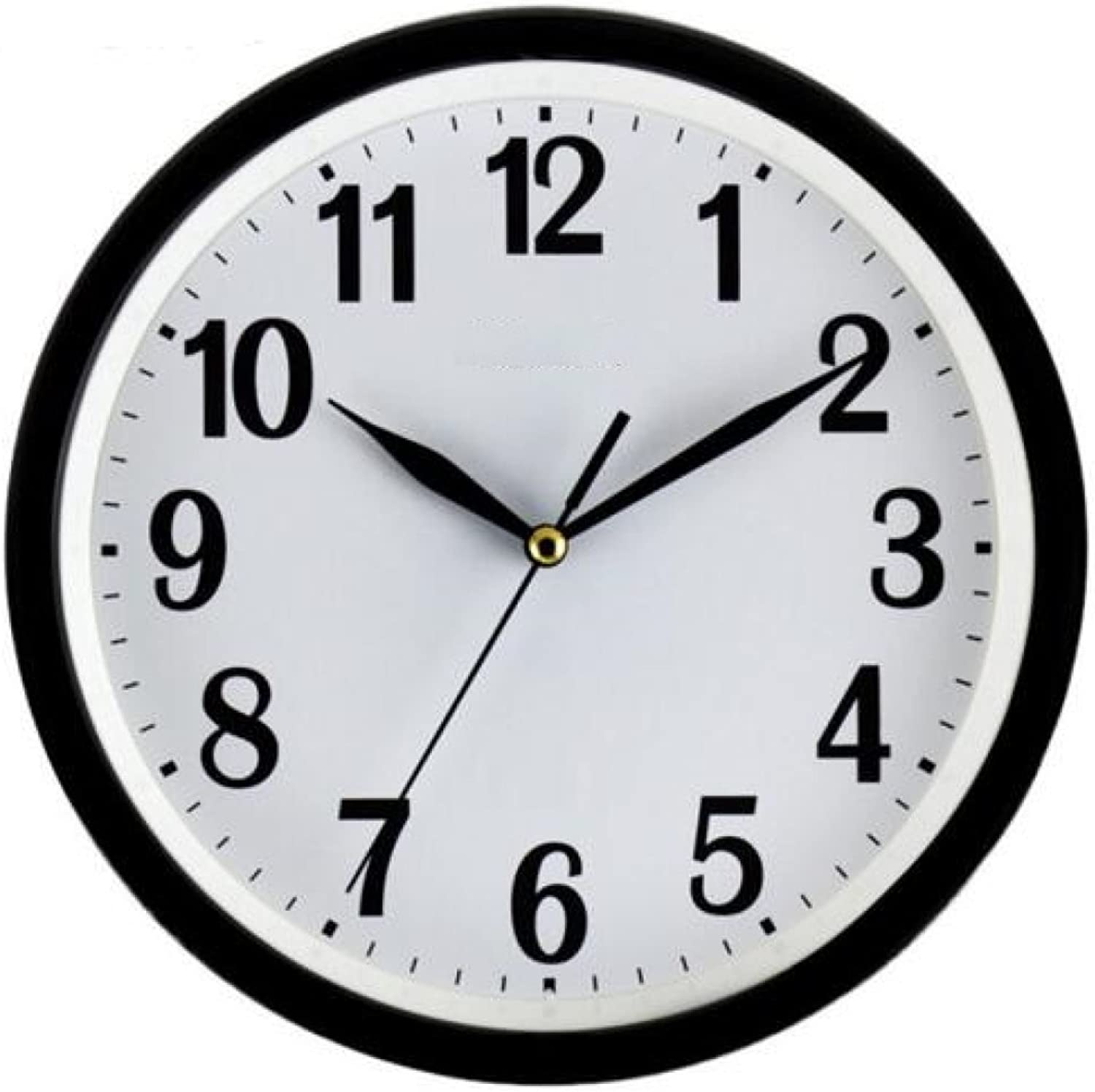 Quartz Clock Modern Simple Clock 12 Inch Round Bedroom Clock Creative Clock Living Room Clock ,Black
