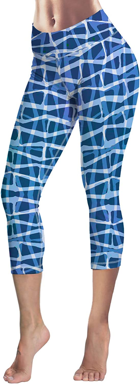 Queen Area Women's Geometric Diamond Pattern Print Fitness 4 Way Stretch Yoga Capris Leggings