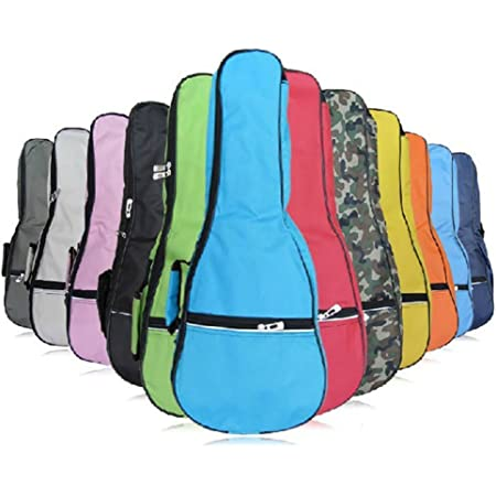 HOT SEAL Waterproof Durable Colorful Ukulele Cotton Case Bag with Storage (21in, black)