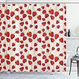 ABAKUHAUS Erdbeere Duschvorhang, Sommer Obst Snacks, mit 12 Ringe Set Wasserdicht Stielvoll Modern Farbfest & Schimmel Resistent, 175x200 cm, Mehrfarbig