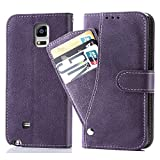 Asuwish Note 4 Wallet Case,Leather Phone Cases with Credit Card Holder Slim Kickstand Stand Flip Folio Protective Cover for Samsung Galaxy Note 4 Note4 Women Girls Men Purple