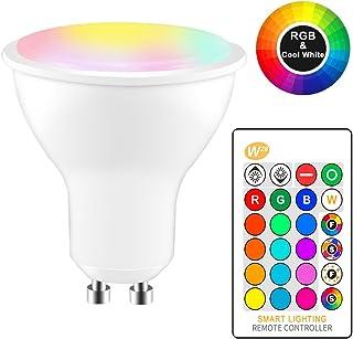 ONEVER 8W RGBW LED GU10 Bombilla cambiante del color Atmósfera Iluminación LED Fade Mode Lámpara Estroboscópico flash barra KTV decorativas luces RGB Blanco frío