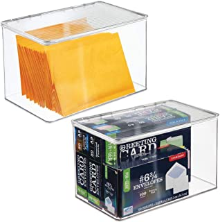 mDesign Plastic Office Storage Bin with Lid - Holds Note Pads, Gel Pens, Staples, Dry Erase Markers, Envelopes, Tape - 7