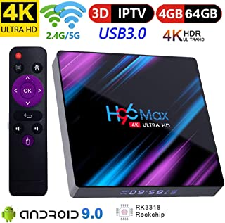 Android 9.0 TV Box Yongf H96 Max 4GB 64GB RK3318 Quad Core Smart 4K 60FPS TV Box Duan WiFi 2.4G/5G Android Box Bluetooth 4.0 LCD Display Set Top Box - coolthings.us