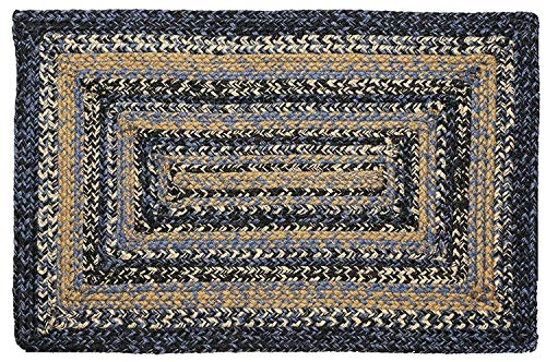IHF Home Decor River Shale Braided Area Rug | Rectangle Kitchen Porch Indoor Outdoor Carpet | Jute Natural Fiber Floor Mat - 22