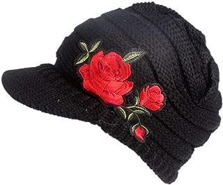 leomoste Women Winter Knit Hat Crochet Visor Brim Cap Warm Soft Newsboy Cabbie Cap with Rose Embroidery Pattern
