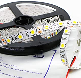 Kebinfen 16.4ft(5m) SMD 5050 Natural White 4000K Non-Waterproof Flexible LED Strip Lights 300LEDs/Roll LED Light Strip Multifunctional LED Tape Lights