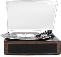 LP&No.1 Vintage Vinyl Record Player with Stereo Speakers,3 Speed Turntable, Dark Brown