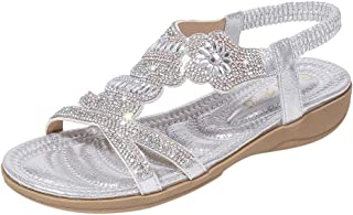 Duseedik Summer Women's Bohemia Sandals Ladies Crystal Flat Sandals Beach Peep Toe Casual Roman Shoes