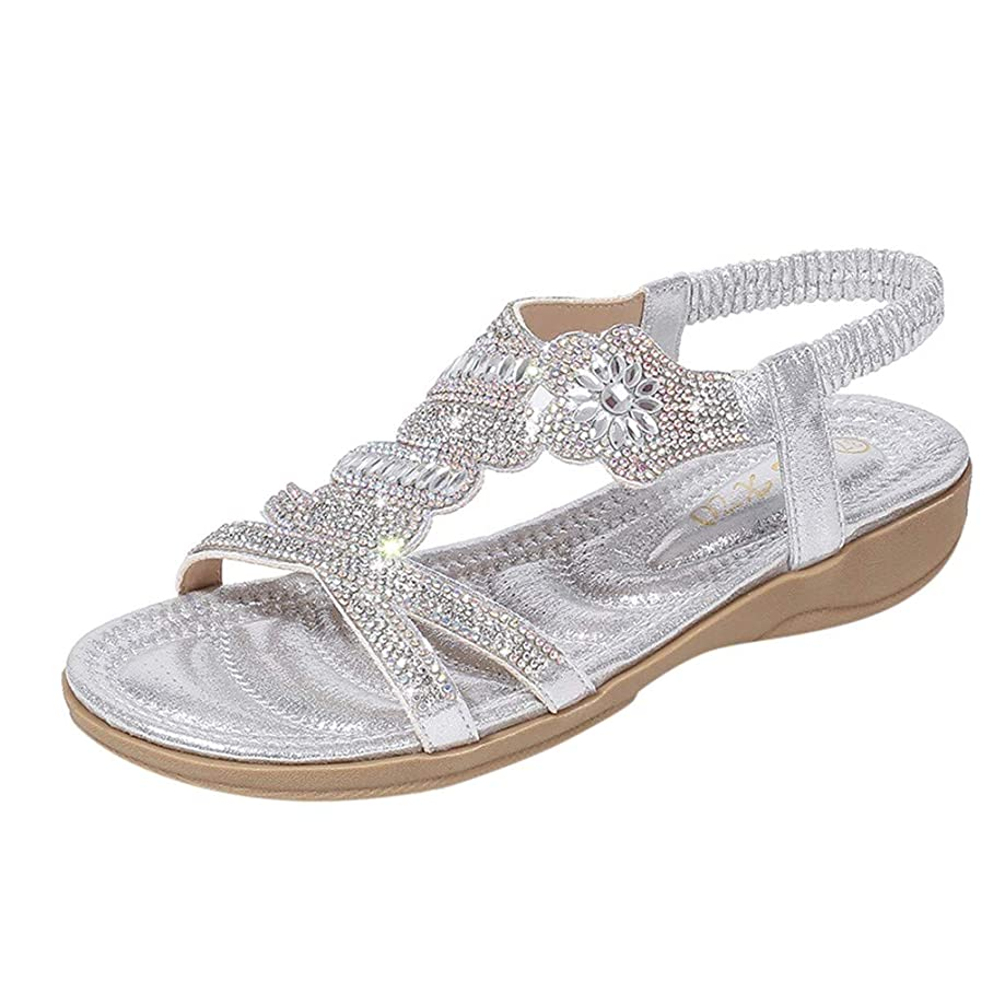 Ladies Bohemia Sandals Summer Women Crystal Flats Beach Mules Peep Toe Casual Shoes Simple Slippers