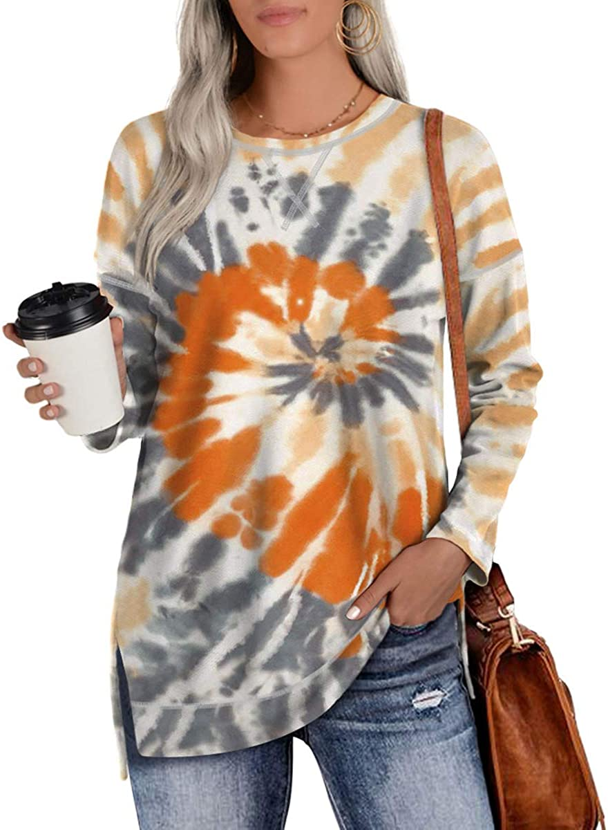 Womens Sweatshirts Tie Dye Casual Long Sleeve Tunic Tops Sweatshirt S-XXL