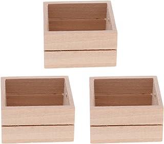Toygogo 3pcs Boîte De Rangement en Bois De Légumes Panier Miniature Panier pour 1/12 échelle Maison De Poupée Décorations