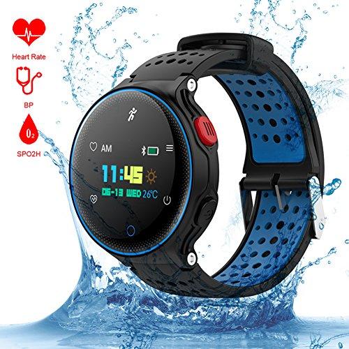 Reloj Inteligente QIMAOO Smart Watch Bluetooth 4.0 Fitness Tracker IP68 impermeable de Natación Reloj Deporte Inteligente Podómetro ,Sueño,Notificación de SMS Pulsera Actividad Inteligente para Android 4.4 e IOS 8.0(X2)