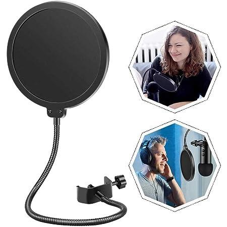 TOSKOU Forma Redonda Studio Micrófono Mic Viento Pop con Stand Clip, 6 Pulgadas Micrófono Profesional Máscara de Filtro de pop, con un Brazo de Cuello de Cisne Flexible de 360° Brazo
